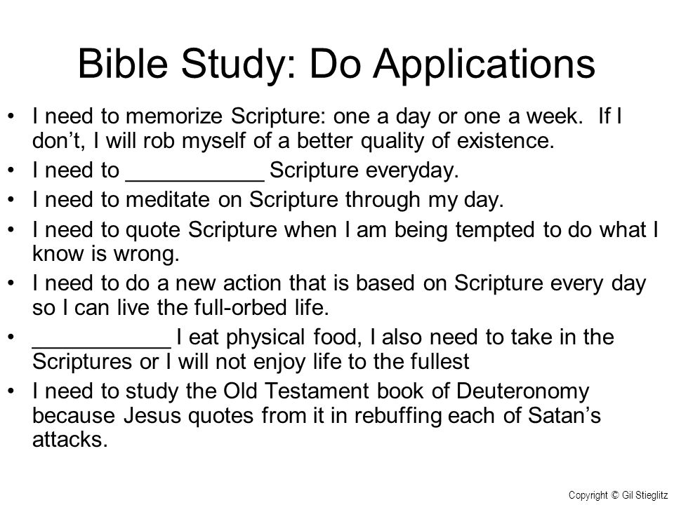 Bible Study: Do Applications