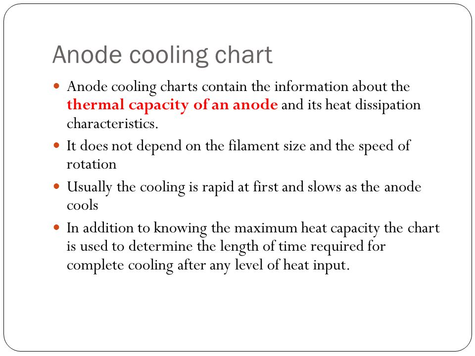 Anode cooling chart Anode cooling charts contain the information about the thermal capacity of an anode and its heat dissipation characteristics.
