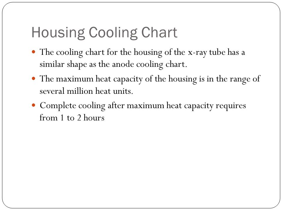 Housing Cooling Chart The cooling chart for the housing of the x-ray tube has a similar shape as the anode cooling chart.