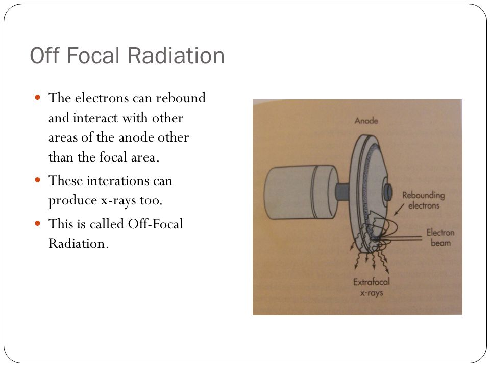 Off Focal Radiation The electrons can rebound and interact with other areas of the anode other than the focal area.