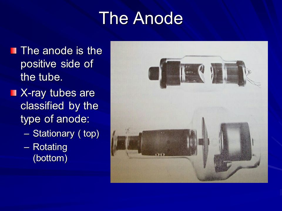The Anode The anode is the positive side of the tube.