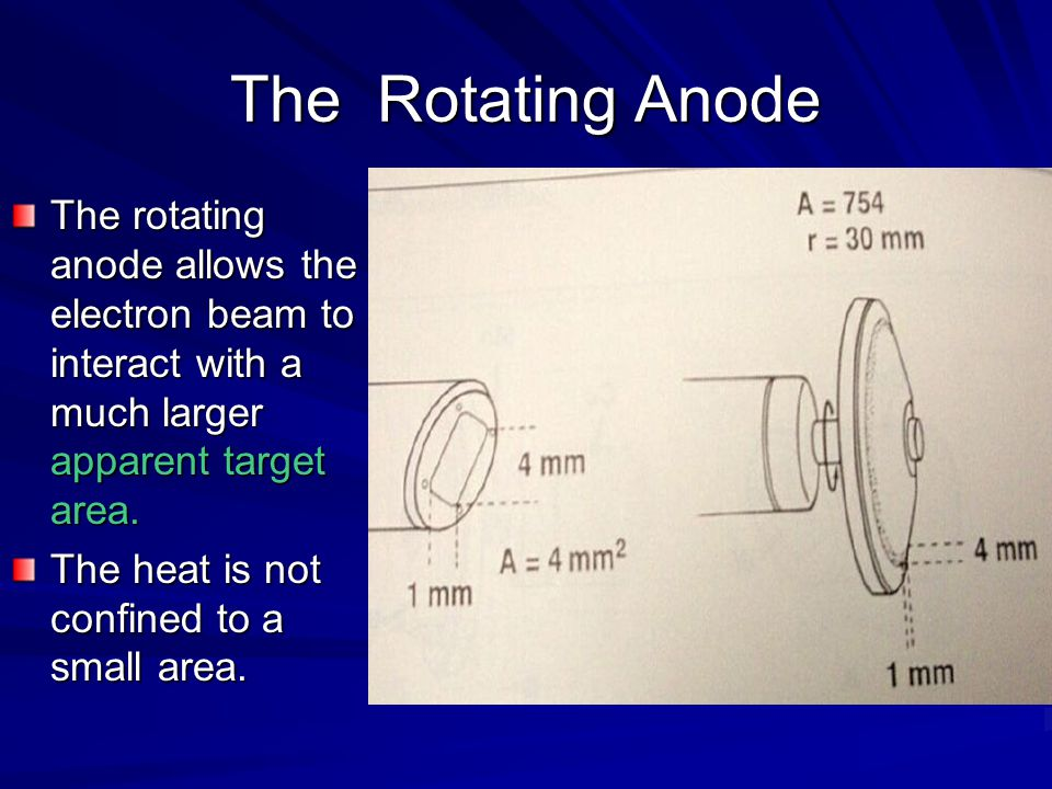 The Rotating Anode The rotating anode allows the electron beam to interact with a much larger apparent target area.