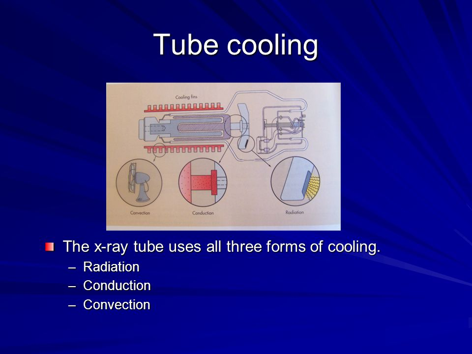 Tube cooling The x-ray tube uses all three forms of cooling. Radiation