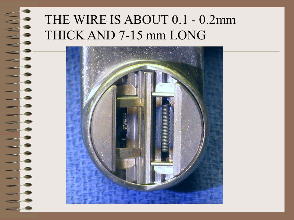 THE WIRE IS ABOUT mm THICK AND 7-15 mm LONG