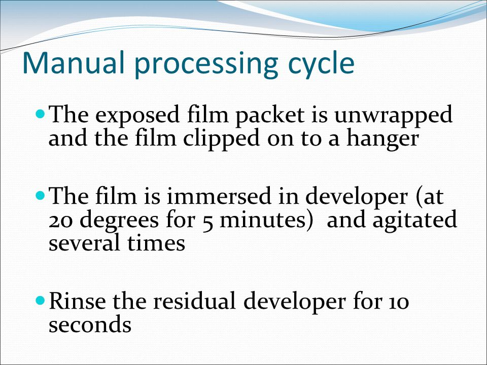 Manual processing cycle