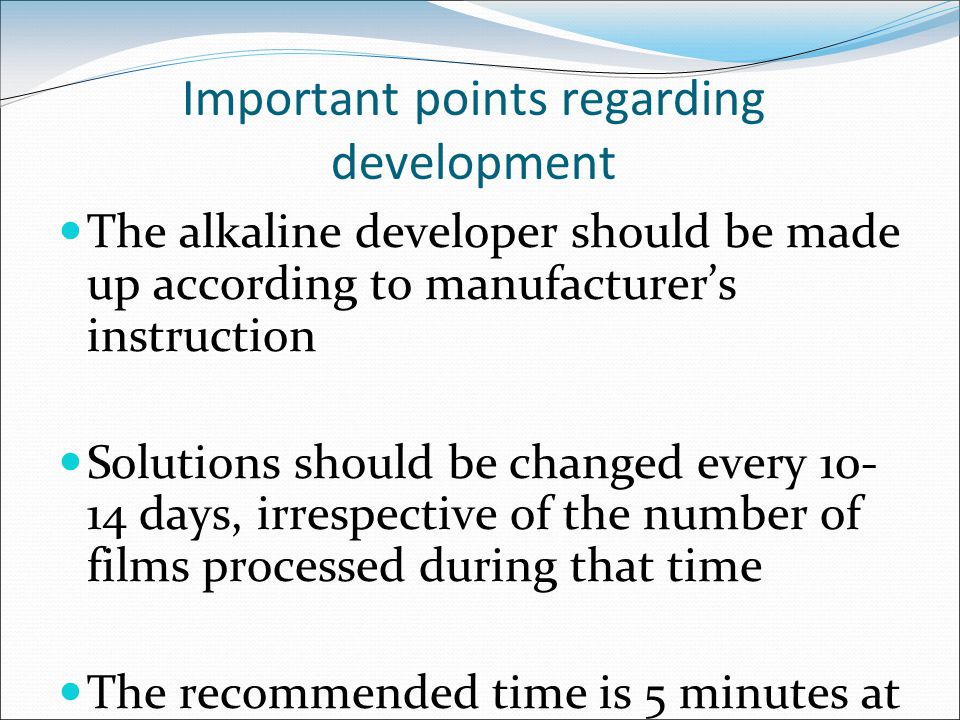 Important points regarding development