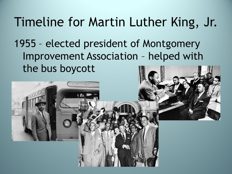Timeline for Martin Luther King, Jr.