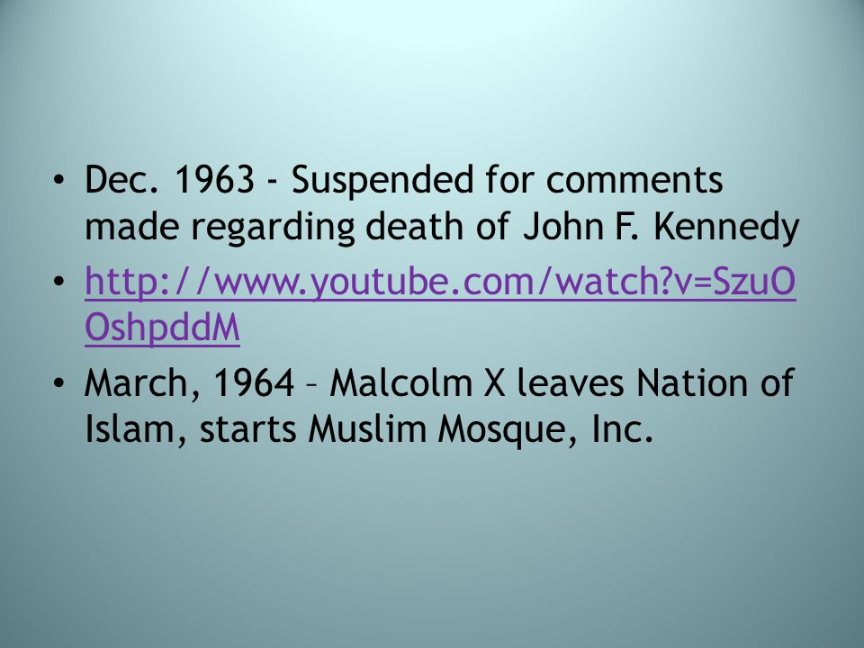 Dec. 1963 - Suspended for comments made regarding death of John F