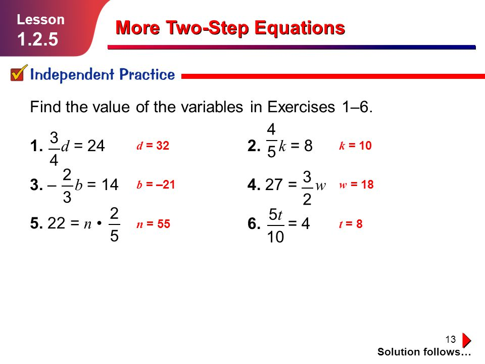 More Two-Step Equations
