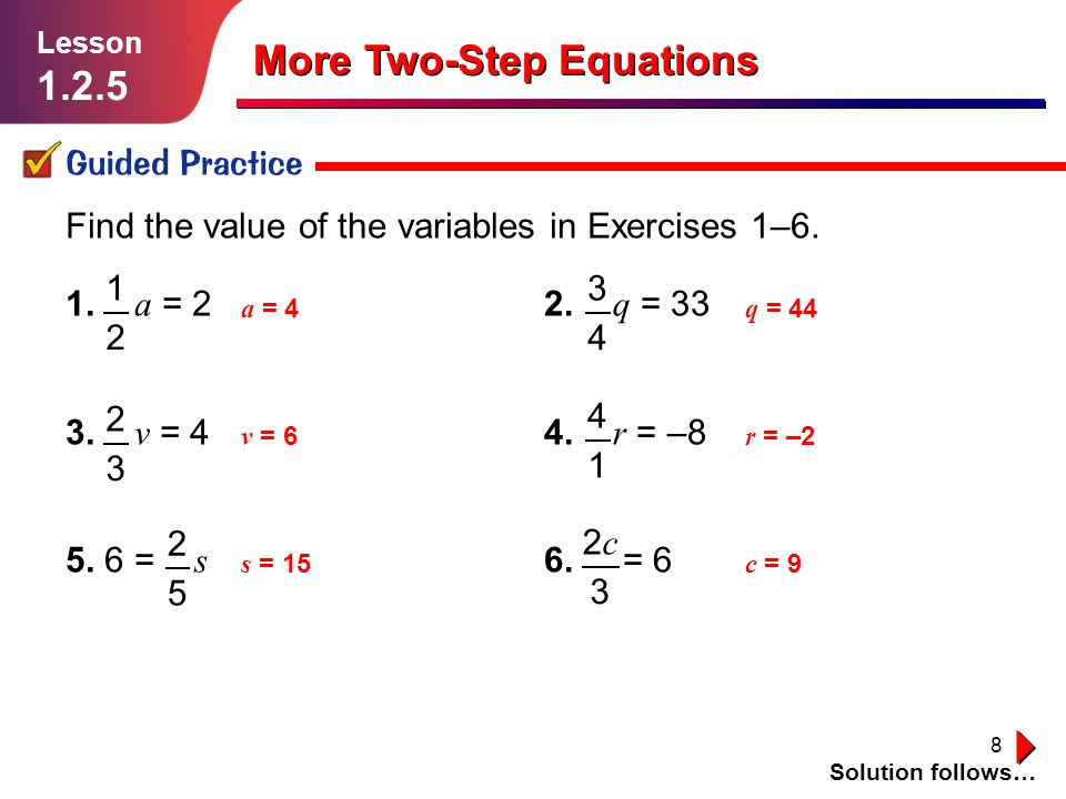 More TwoStep Equations ppt video online download – Solving Two Step Equations Worksheet