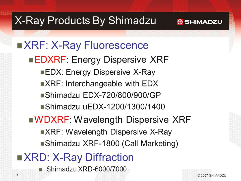 X-Ray Products By Shimadzu