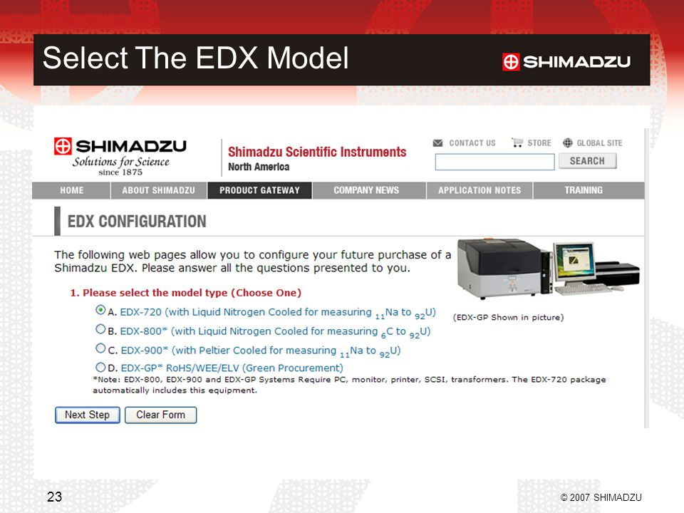 Select The EDX Model © 2007 SHIMADZU