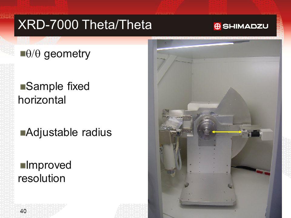 XRD-7000 Theta/Theta q/q geometry Sample fixed horizontal