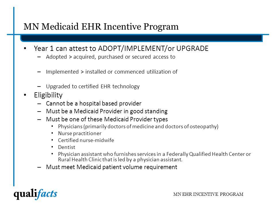 MN Medicaid EHR Incentive Program