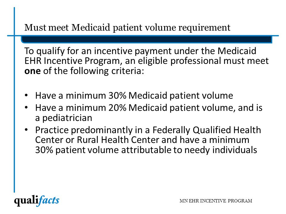 Must meet Medicaid patient volume requirement
