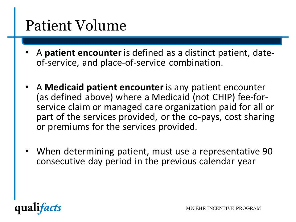 Patient Volume A patient encounter is defined as a distinct patient, date-of-service, and place-of-service combination.