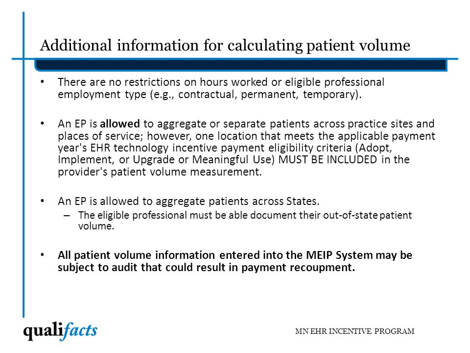 Additional information for calculating patient volume