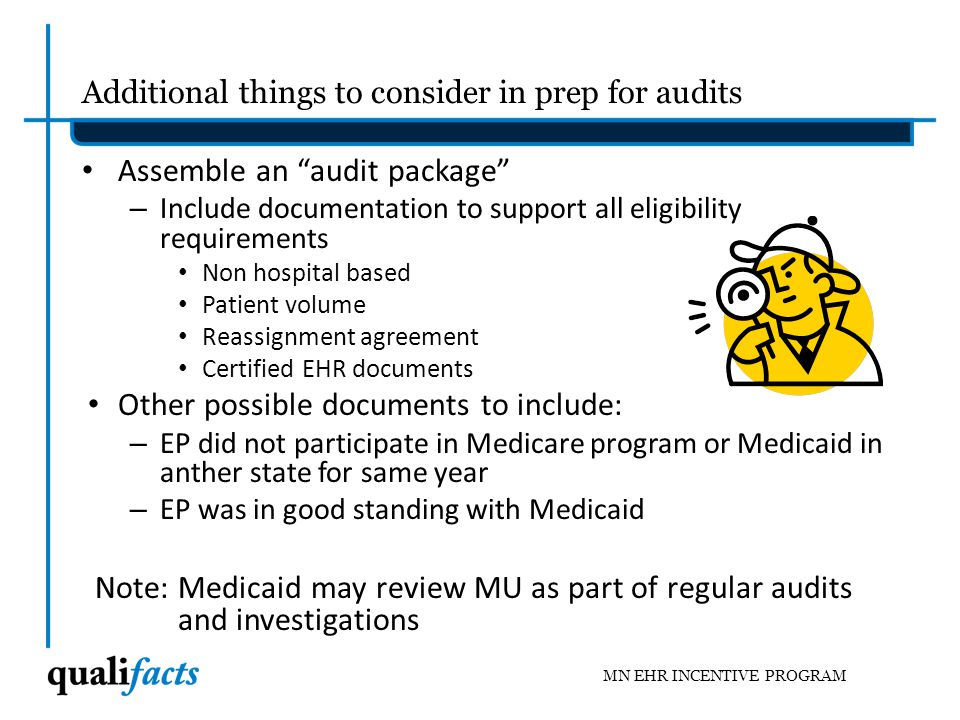 Additional things to consider in prep for audits