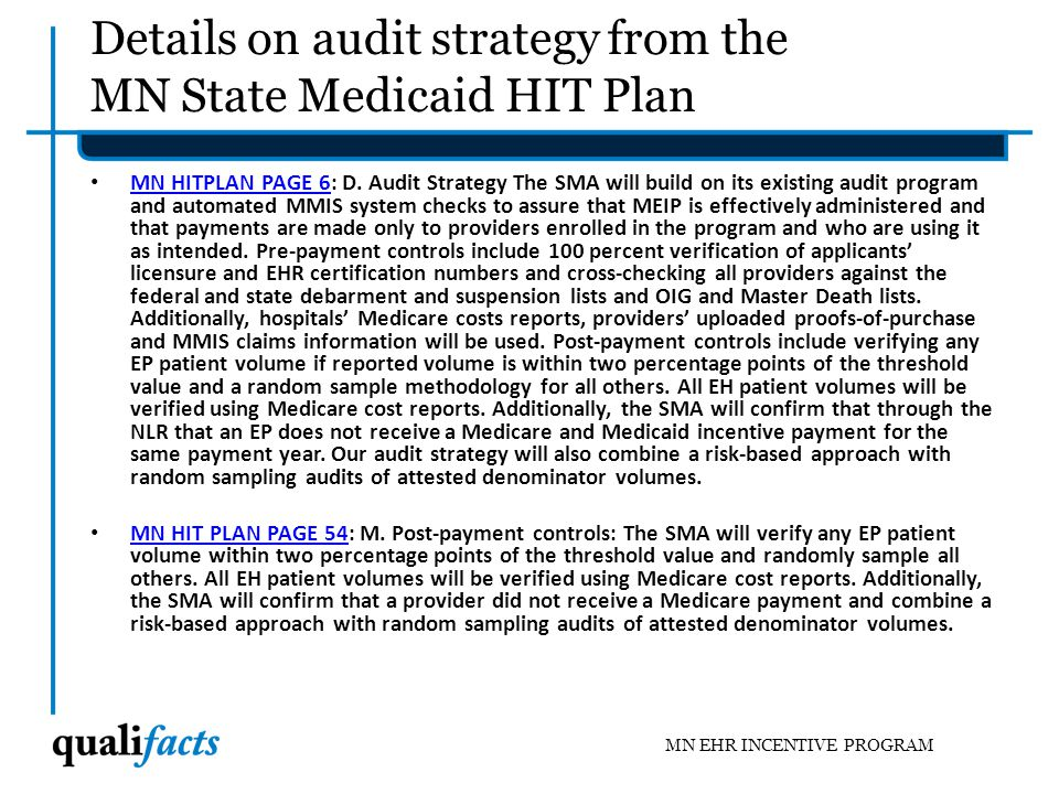 Details on audit strategy from the MN State Medicaid HIT Plan