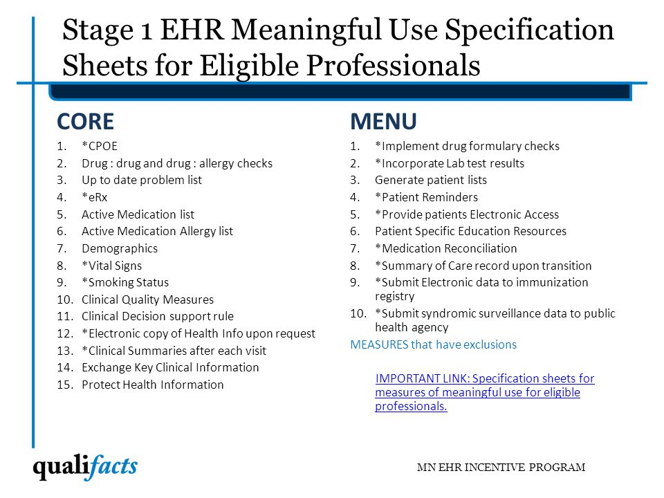 Stage 1 EHR Meaningful Use Specification Sheets for Eligible Professionals
