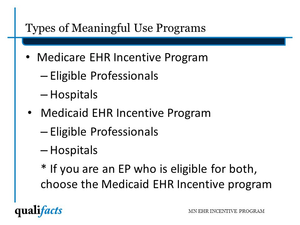 Types of Meaningful Use Programs