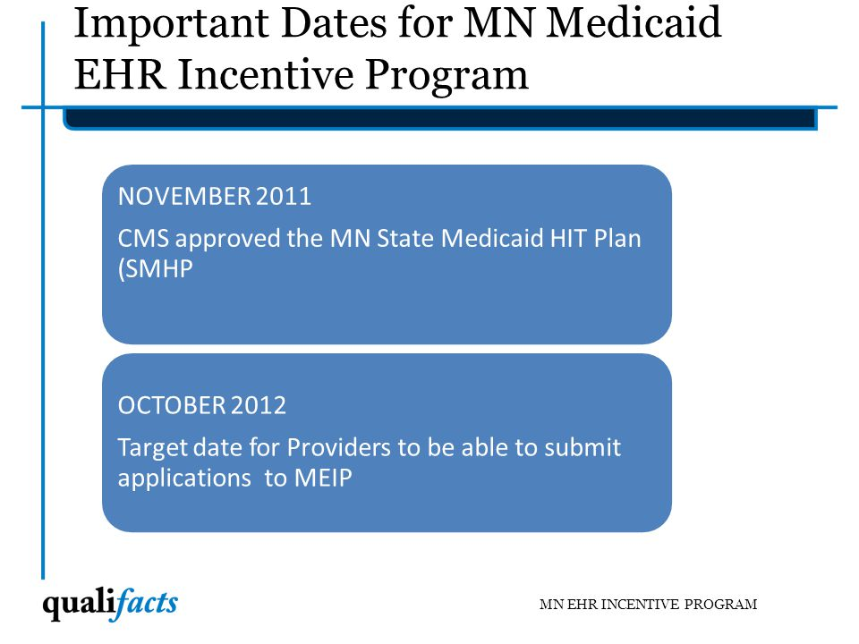Important Dates for MN Medicaid EHR Incentive Program