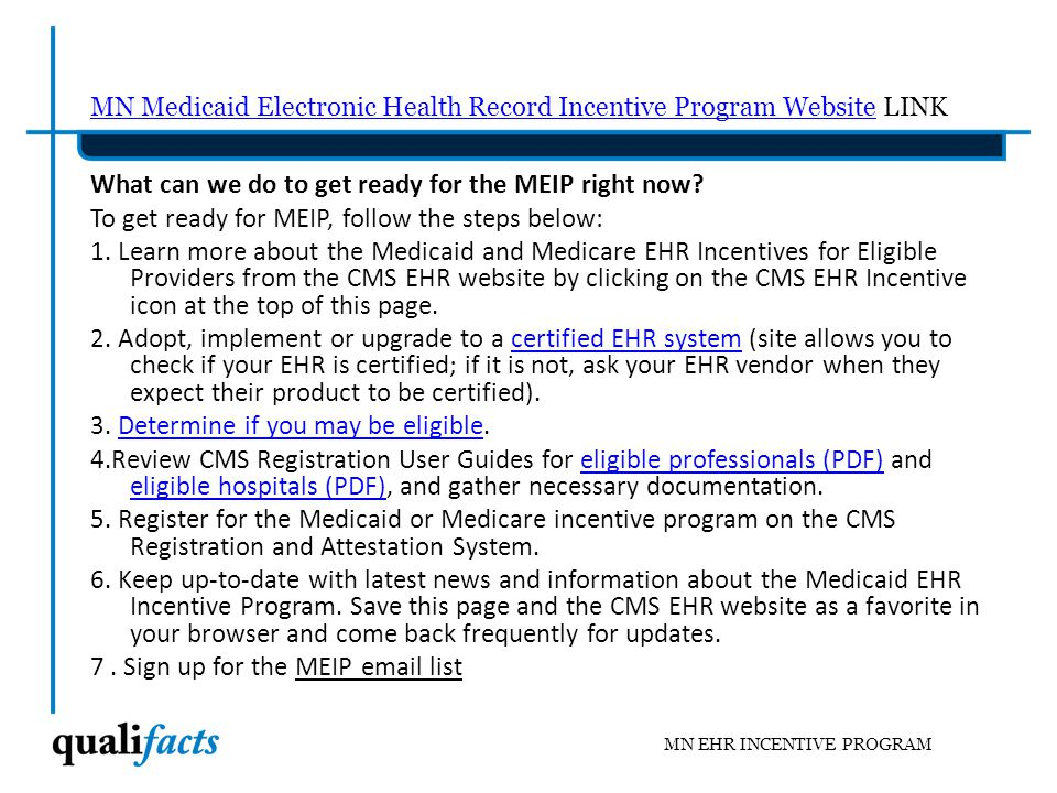 MN Medicaid Electronic Health Record Incentive Program Website LINK