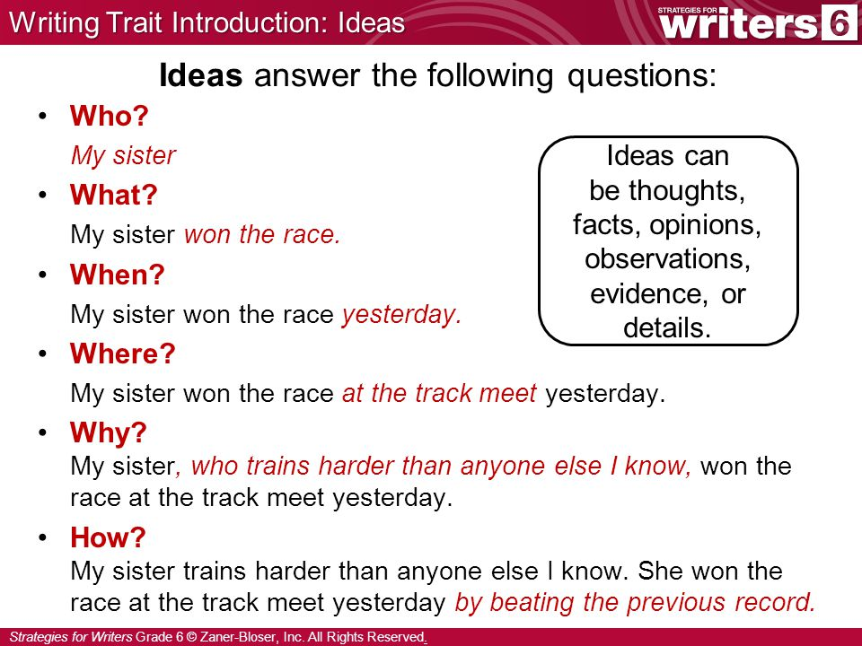 Ideas answer the following questions: