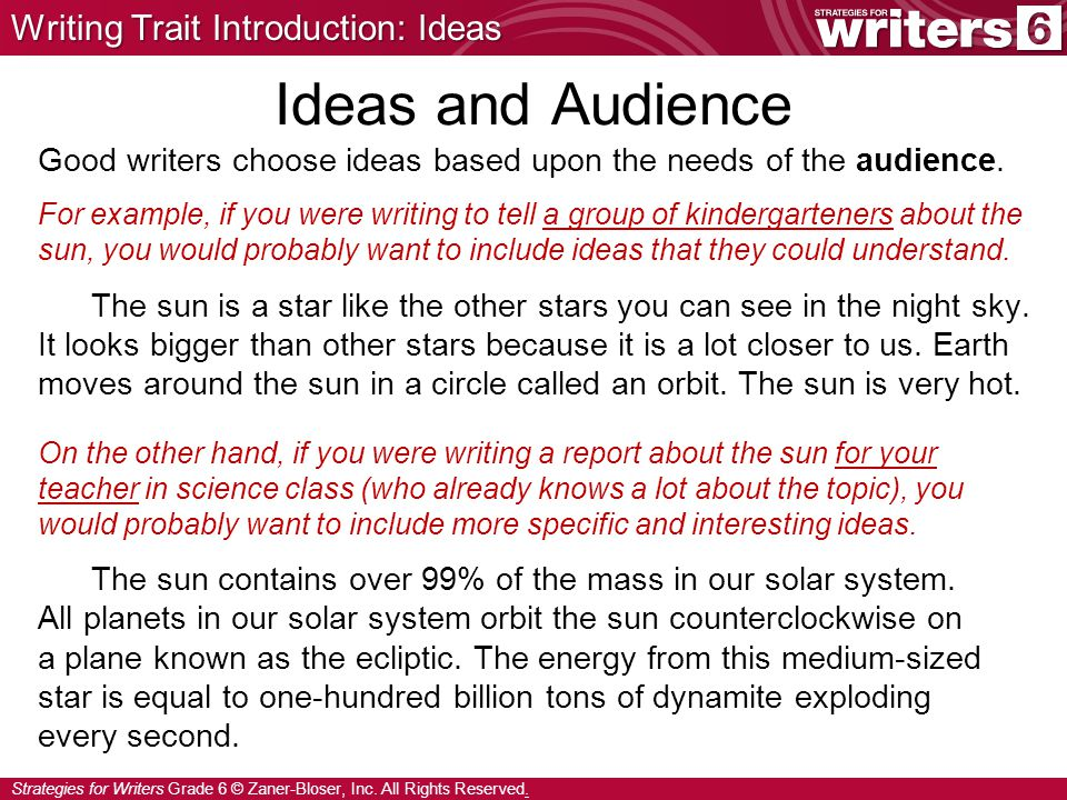 Ideas and Audience Writing Trait Introduction: Ideas