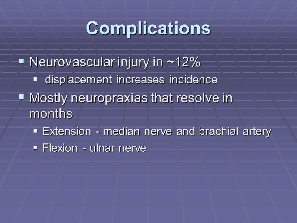 Complications Neurovascular injury in ~12%