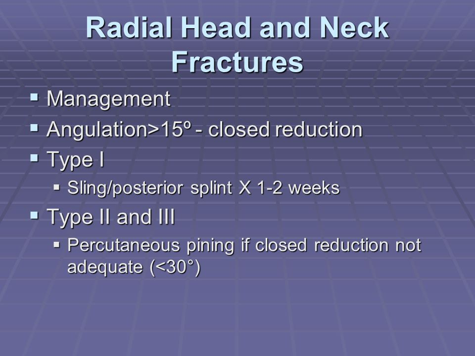 Radial Head and Neck Fractures