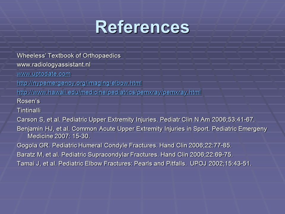 References Wheeless' Textbook of Orthopaedics
