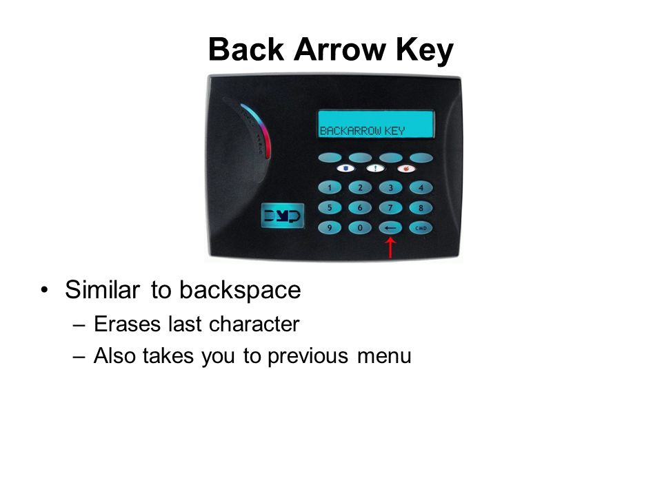 Back Arrow Key Similar to backspace Erases last character