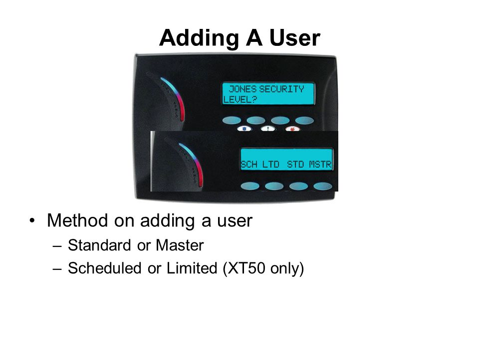 Adding A User Method on adding a user Standard or Master