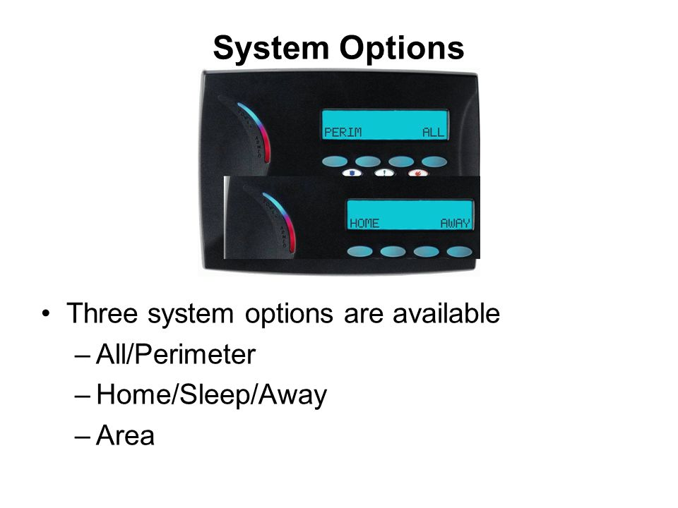 System Options Three system options are available All/Perimeter