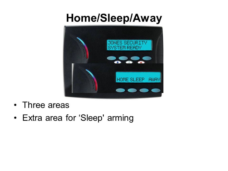 Home/Sleep/Away Three areas Extra area for 'Sleep arming