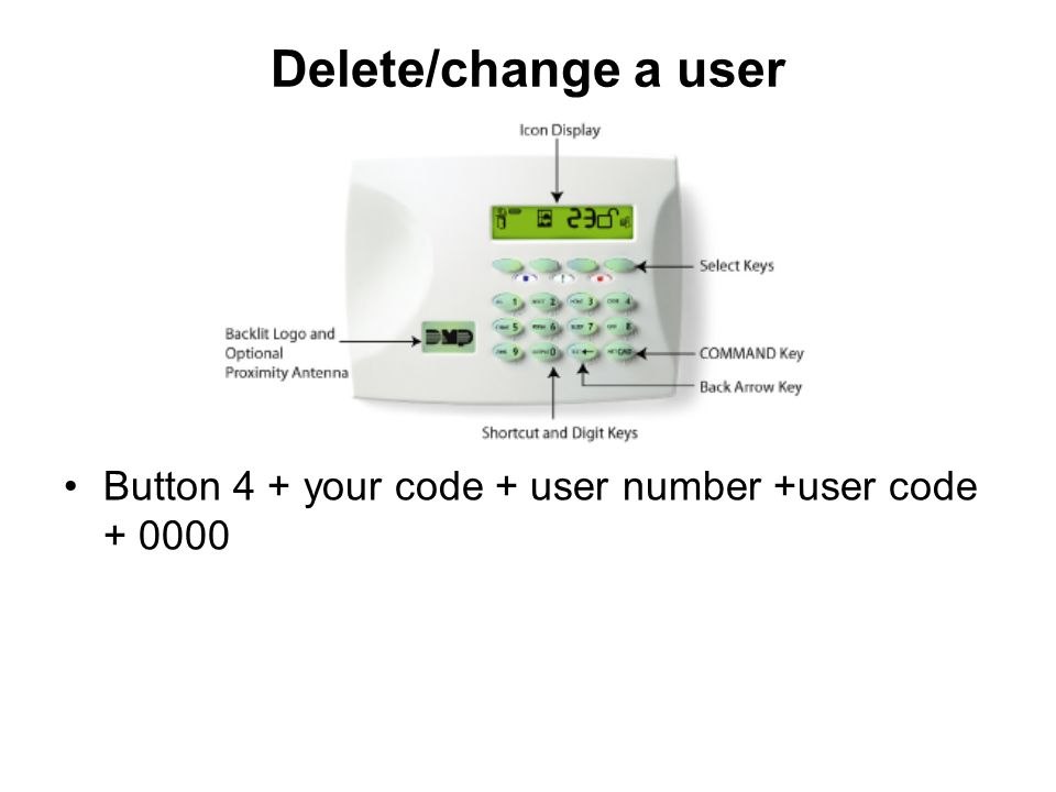 Delete/change a user Button 4 + your code + user number +user code + 0000.