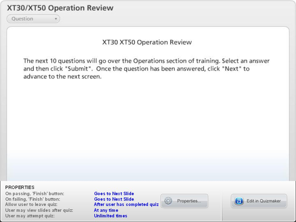 XT30/XT50 Operation Review