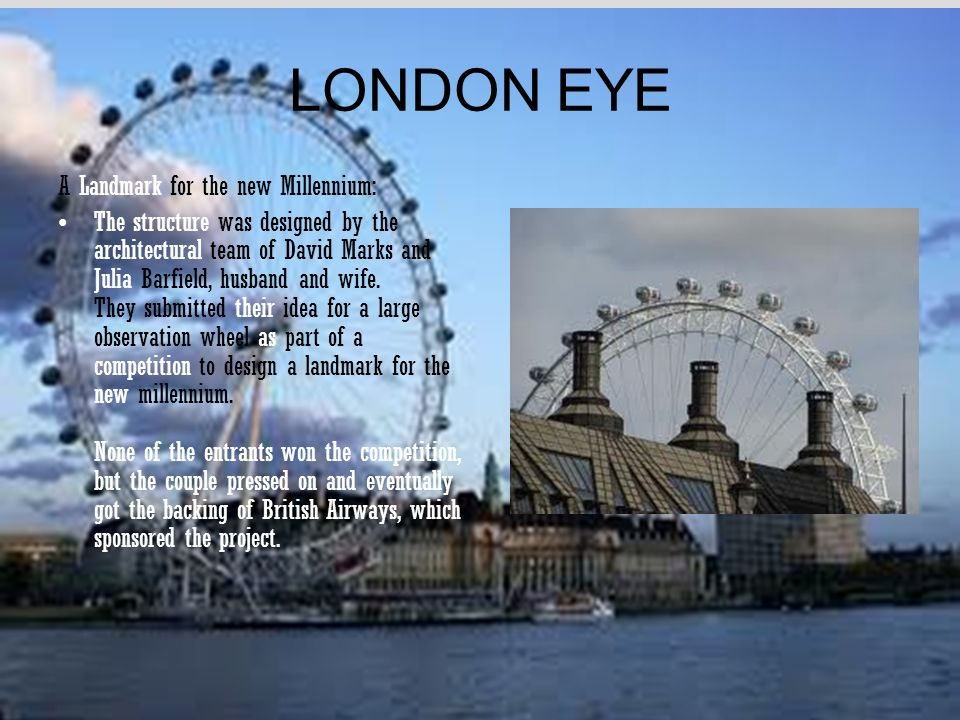 LONDON EYE A Landmark for the new Millennium: