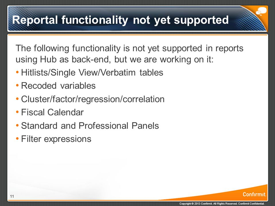 Reportal functionality not yet supported