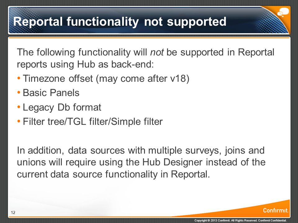 Reportal functionality not supported