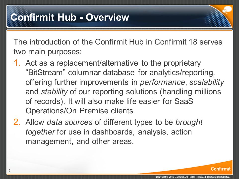 Confirmit Hub - Overview