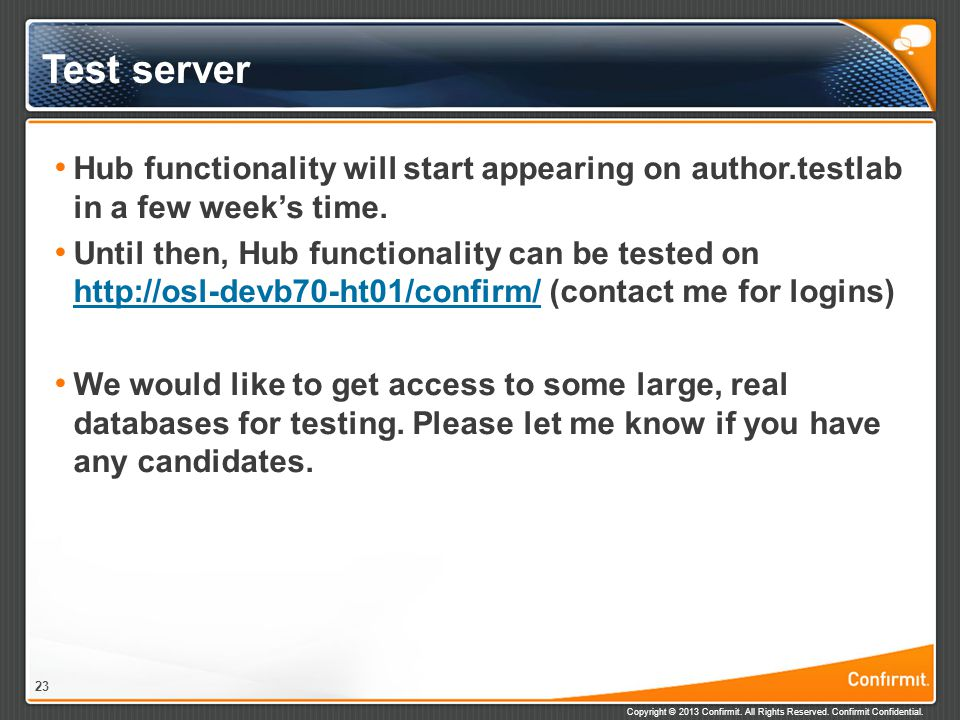 Test server Hub functionality will start appearing on author.testlab in a few week's time.