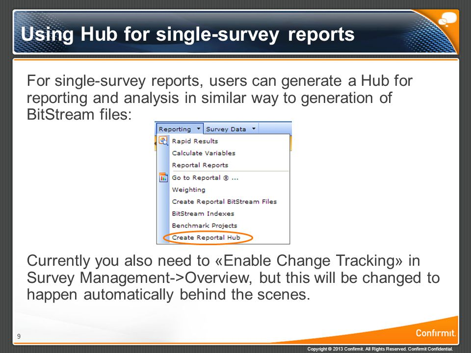 Using Hub for single-survey reports