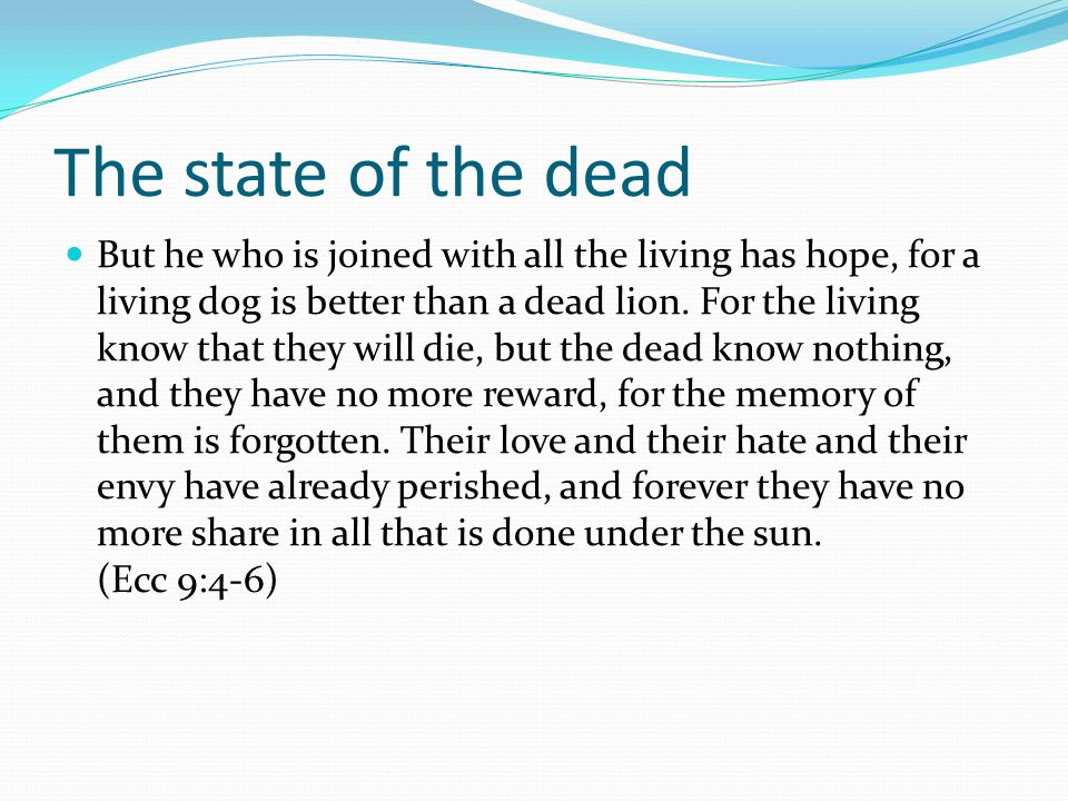 The state of the dead