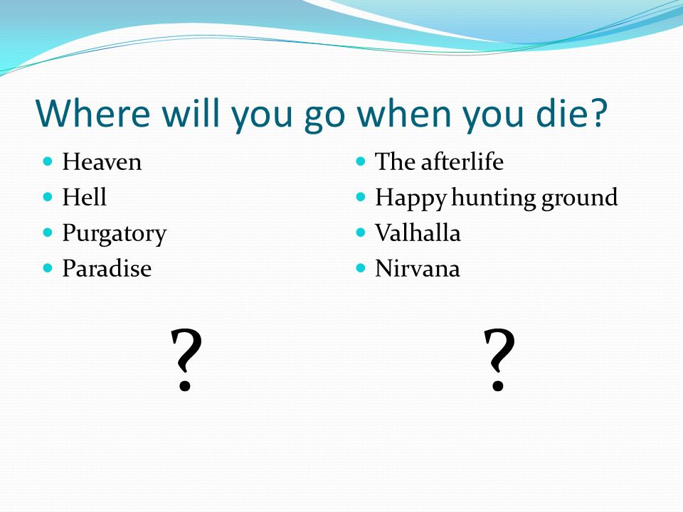 Where will you go when you die