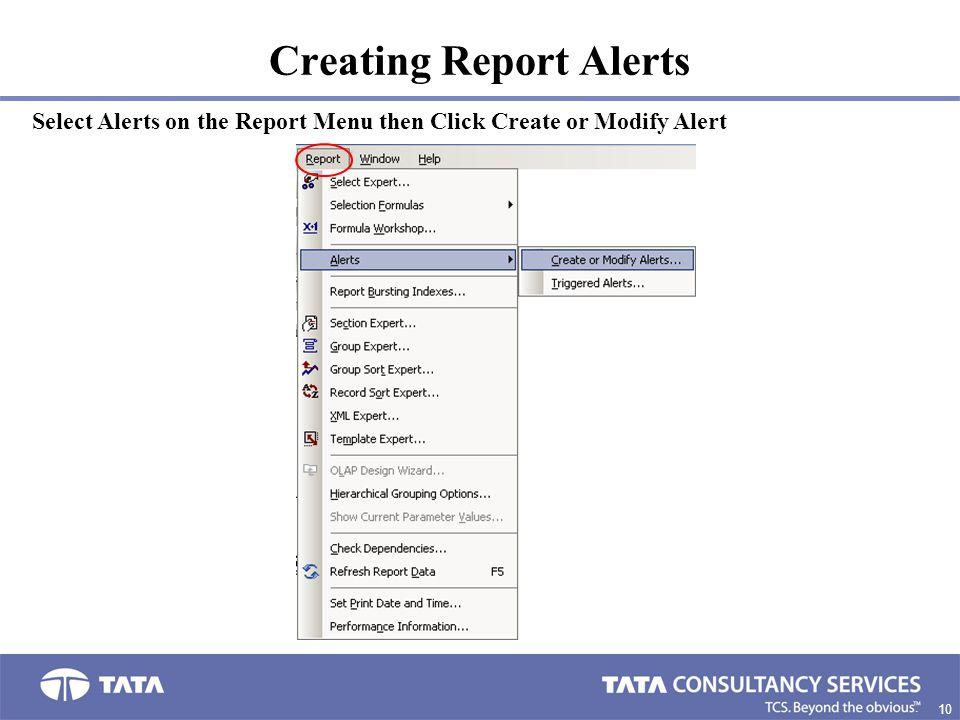 Creating Report Alerts