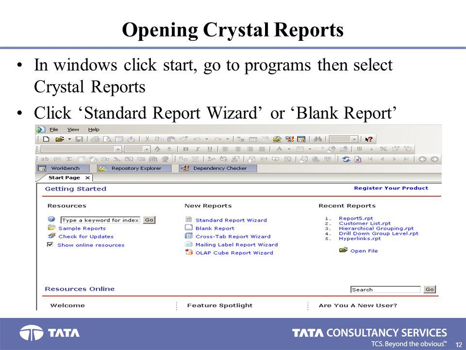 Opening Crystal Reports