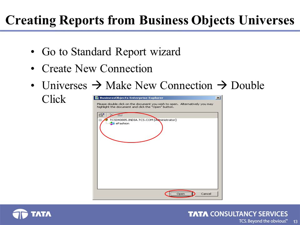 Creating Reports from Business Objects Universes