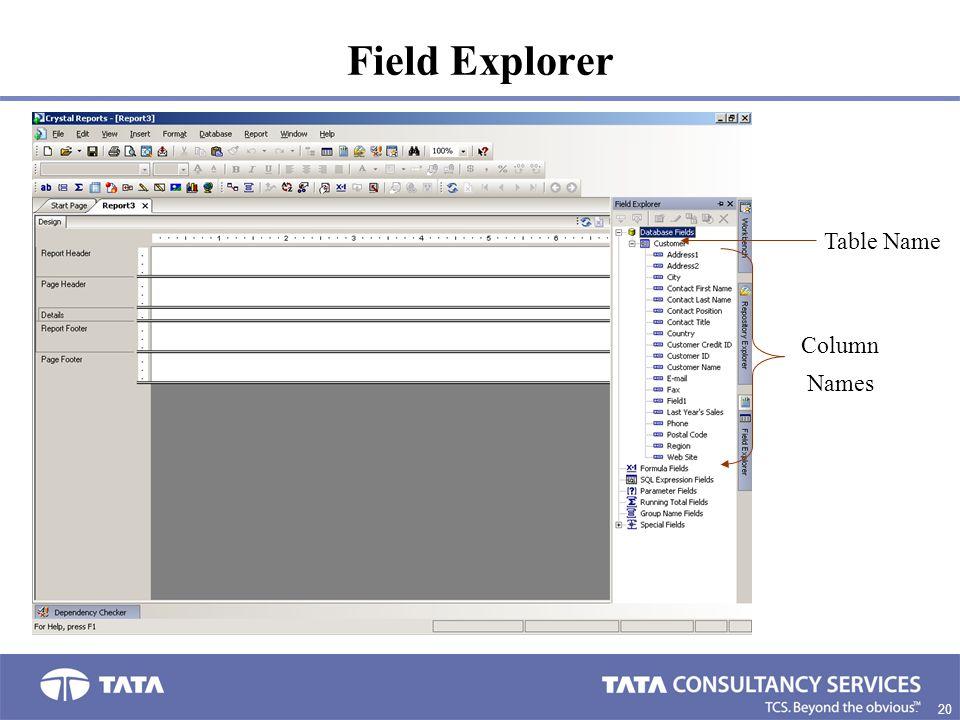 Field Explorer Table Name Column Names